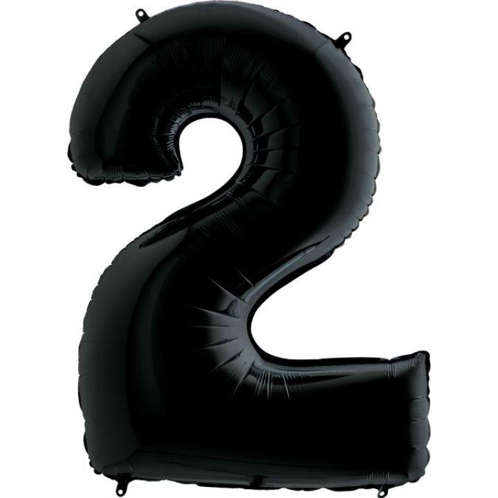 Фольгированный шар цифра 2 чёрная