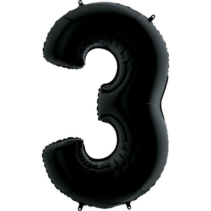 Фольгированный шар цифра 3 чёрная