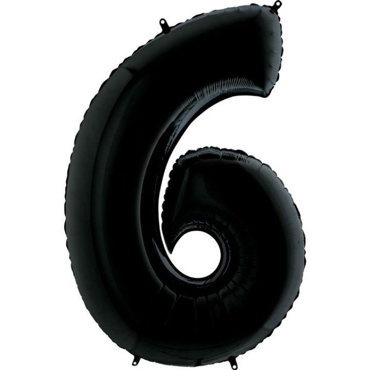 Фольгированный шар цифра 6 чёрная