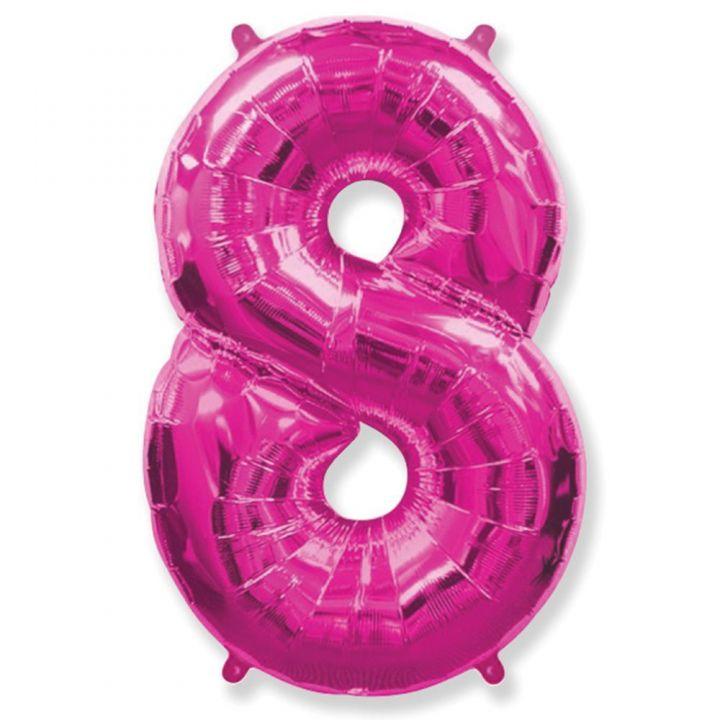 Фольгированный шар цифра 8 фуксия