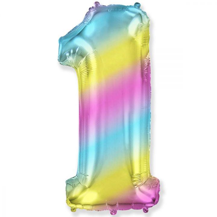 Фольгированный шар цифра 1 градиент радуга