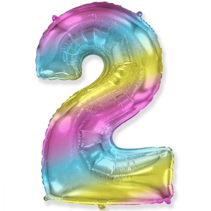 Фольгированный шар цифра 2 градиент радуга