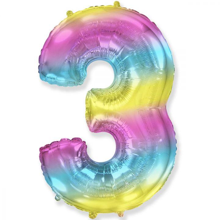 Фольгированный шар цифра 3 градиент радуга