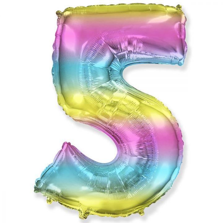Фольгированный шар цифра 5 градиент радуга