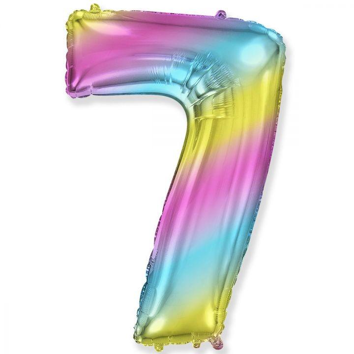 Фольгированный шар цифра 7 градиент радуга