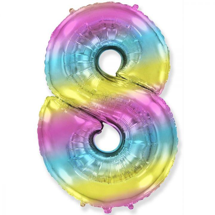 Фольгированный шар цифра 8 градиент радуга