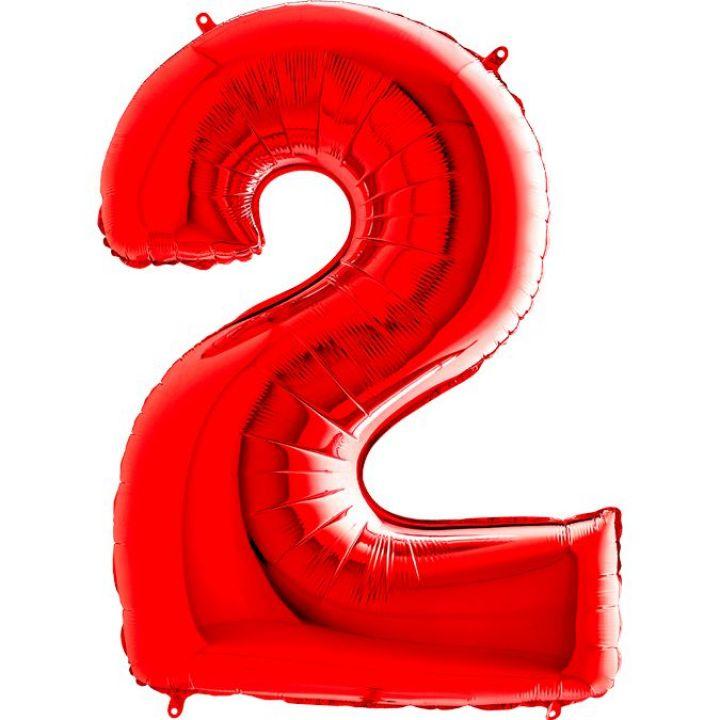 Фольгированный шар цифра 2 красная
