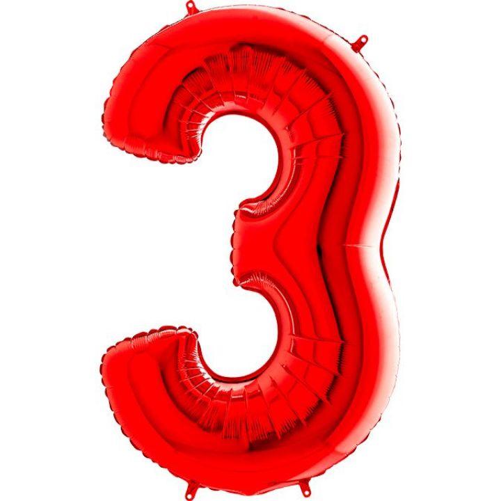 Фольгированный шар цифра 3 красная
