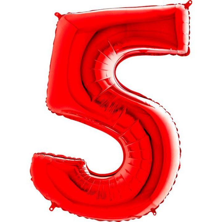 Фольгированный шар цифра 5 красная