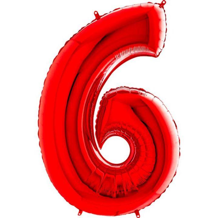 Фольгированный шар цифра 6 красная