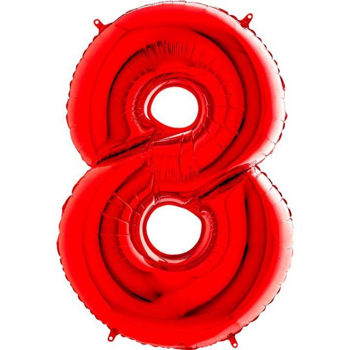 Фольгированный шар цифра 8 красная