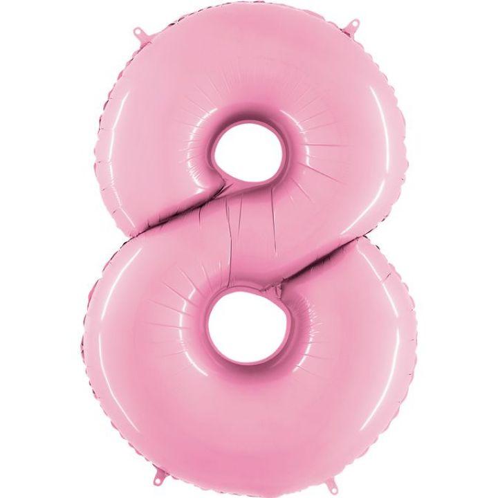 Фольгированный шар цифра 8 нежно-розовая