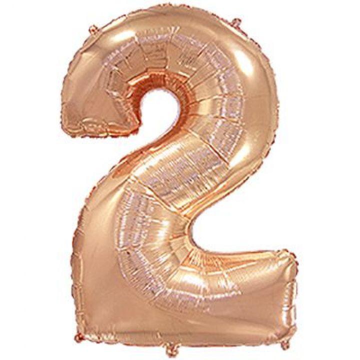 Фольгированный шар цифра 2 розовое золото
