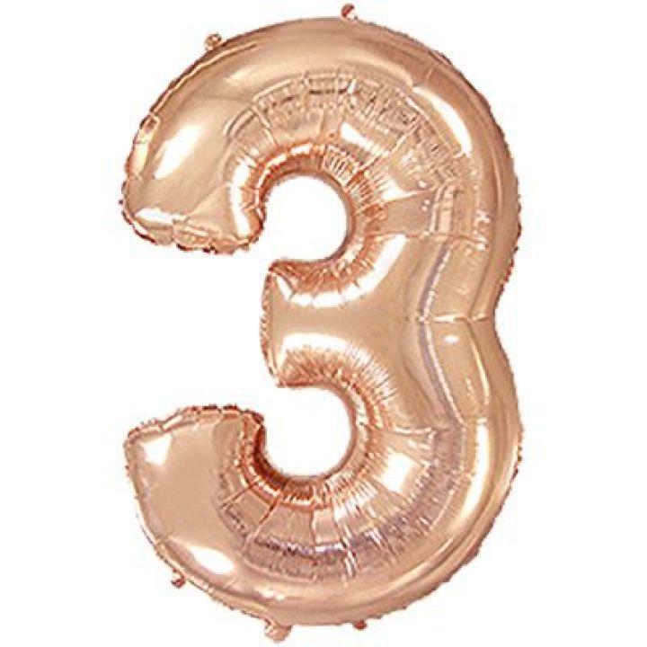 Фольгированный шар цифра 3 розовое золото