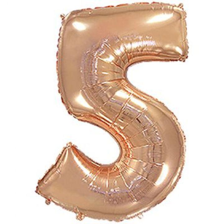 Фольгированный шар цифра 5 розовое золото