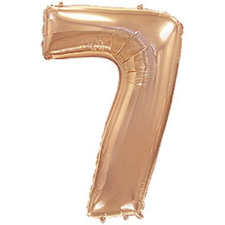 Фольгированный шар цифра 7 розовое золото