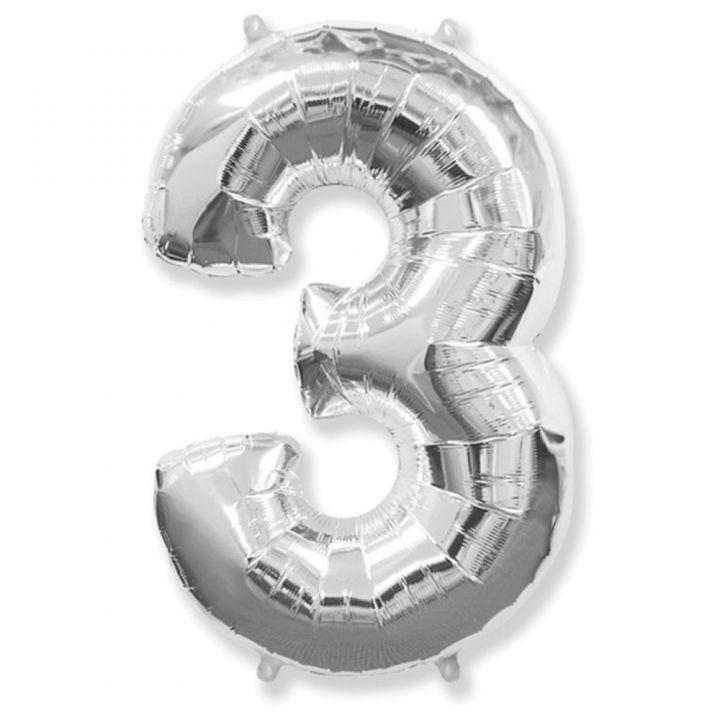 Фольгированный шар цифра 3 серебро