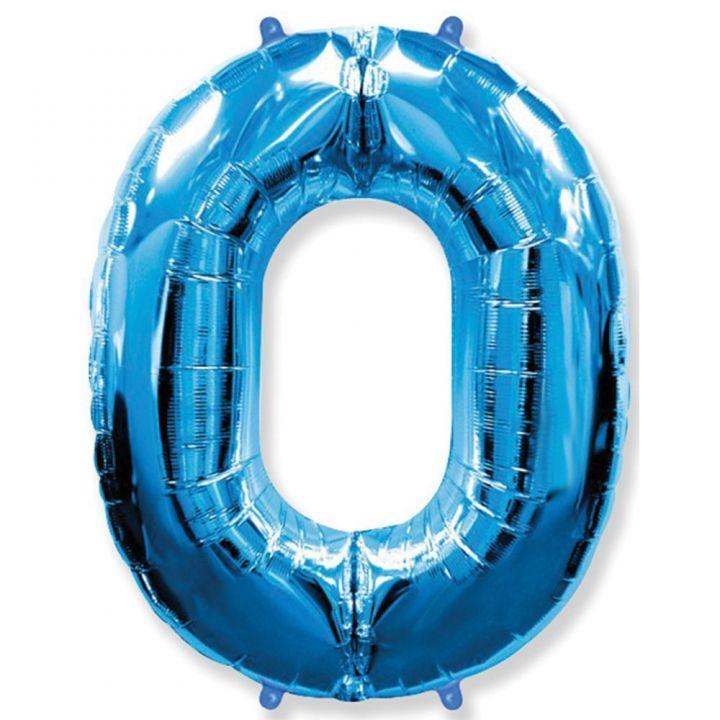 Фольгированный шар цифра 0 синяя