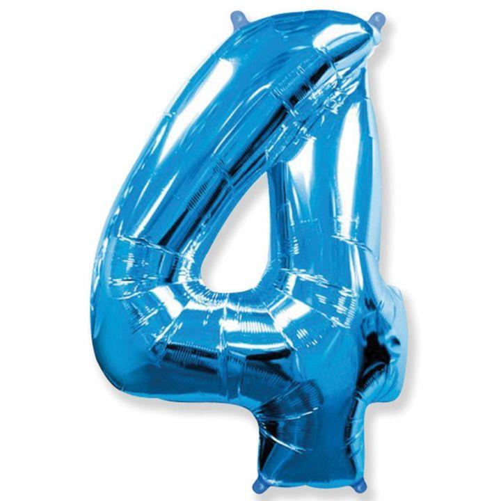 Фольгированный шар цифра 4 синяя