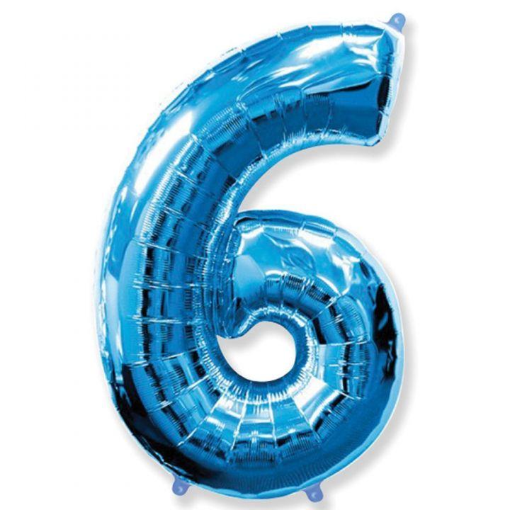 Фольгированный шар цифра 6 синяя