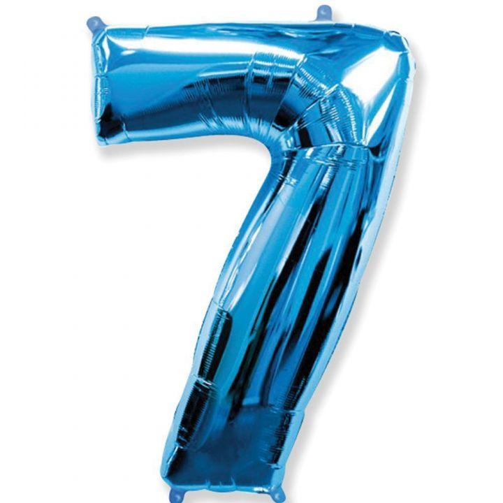 Фольгированный шар цифра 7 синяя