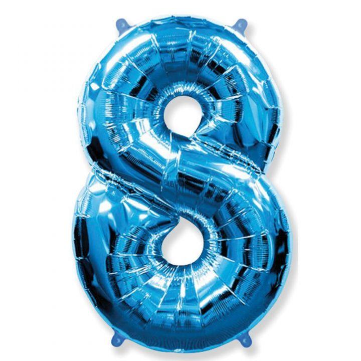 Фольгированный шар цифра 8 синяя