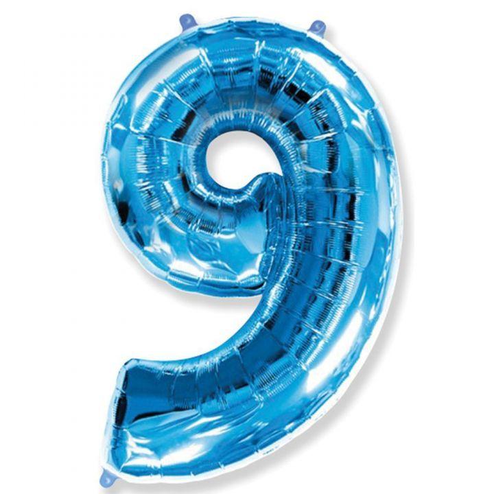Фольгированный шар цифра 9 синяя
