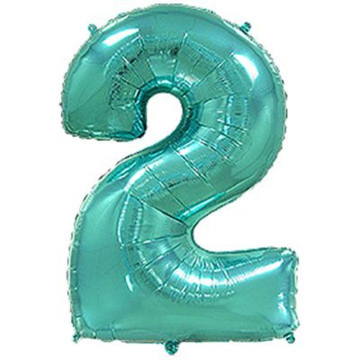 Фольгированный шар цифра 2 тиффани