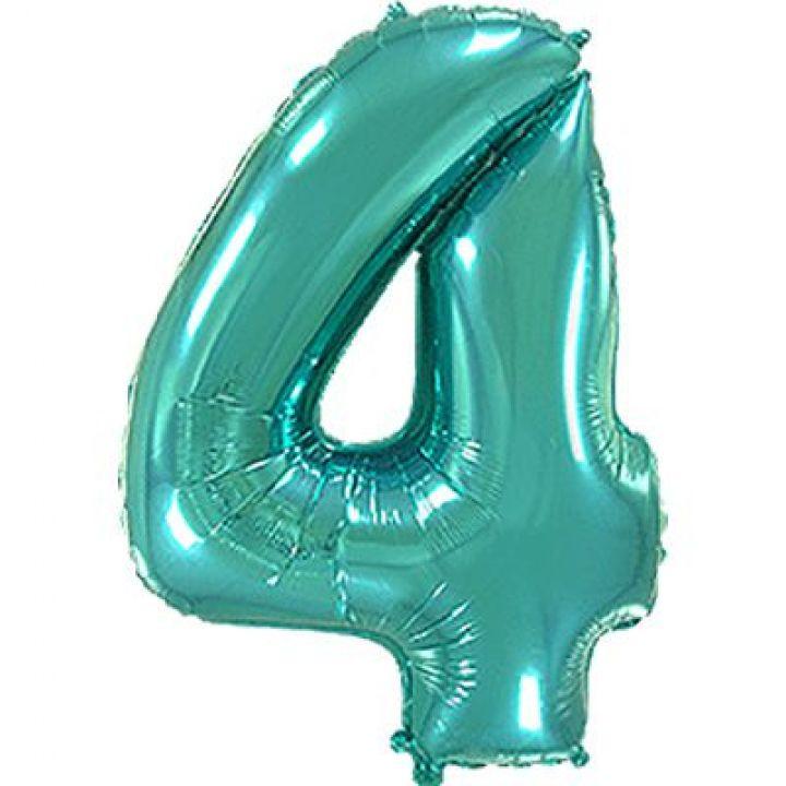 Фольгированный шар цифра 4 тиффани