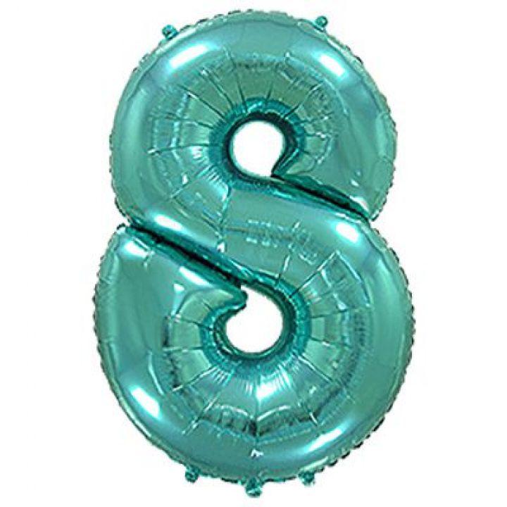 Фольгированный шар цифра 8 тиффани