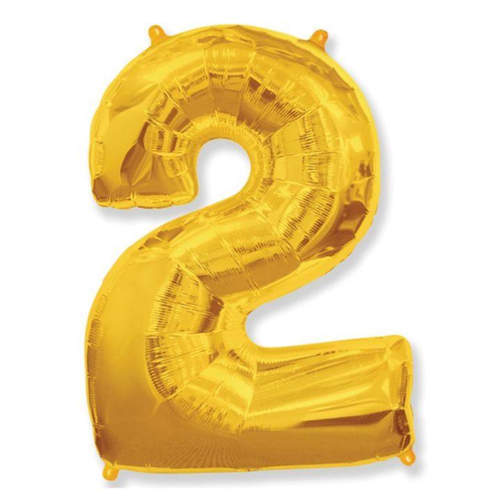 Фольгированный шар цифра 2 золото