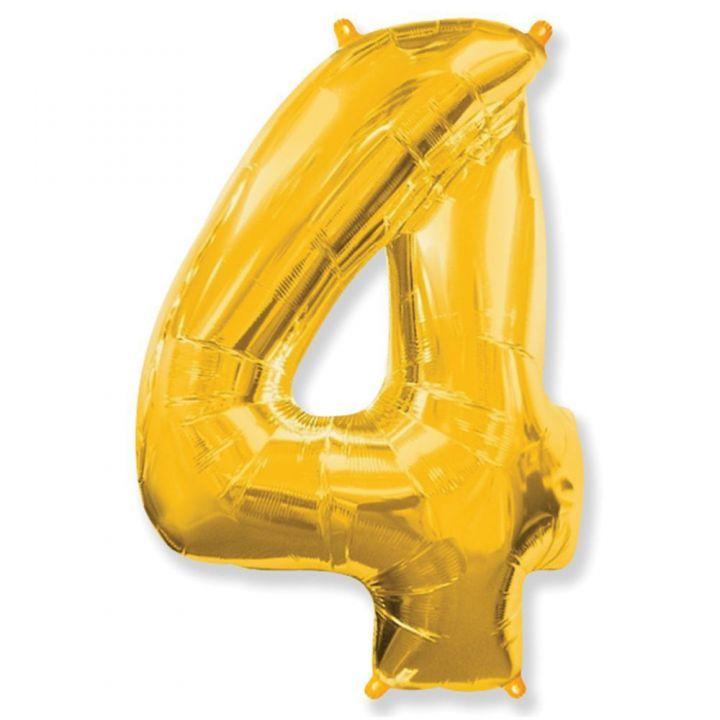 Фольгированный шар цифра 4 золото
