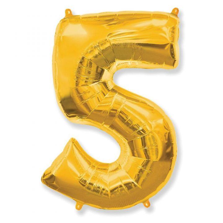 Фольгированный шар цифра 5 золото