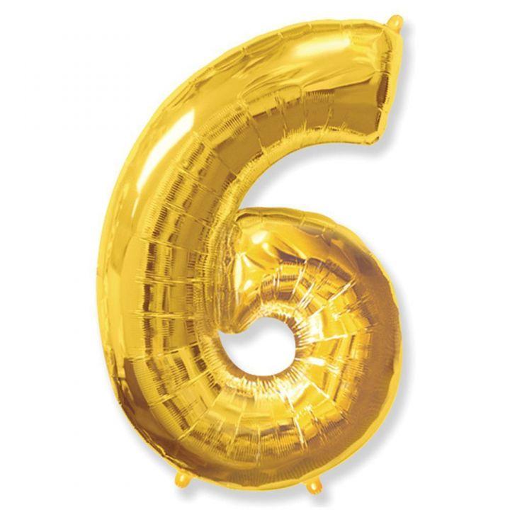 Фольгированный шар цифра 6 золото