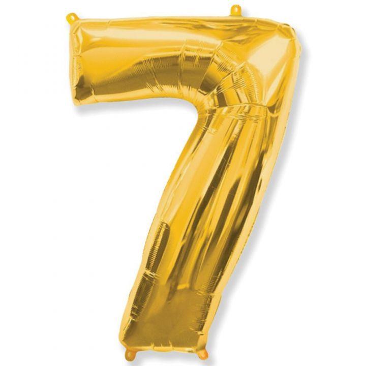 Фольгированный шар цифра 7 золото