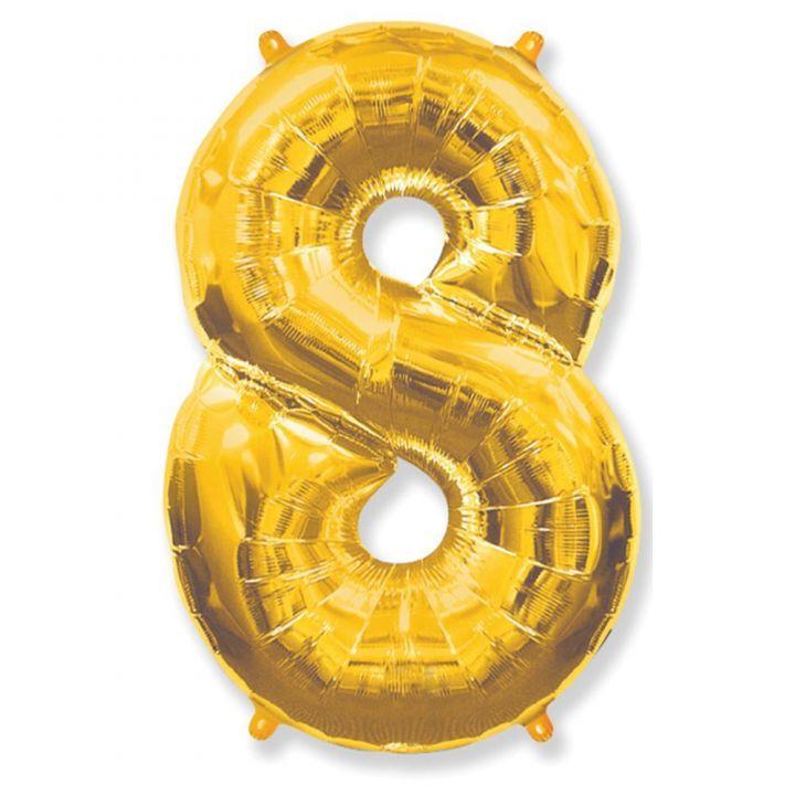 Фольгированный шар цифра 8 золото