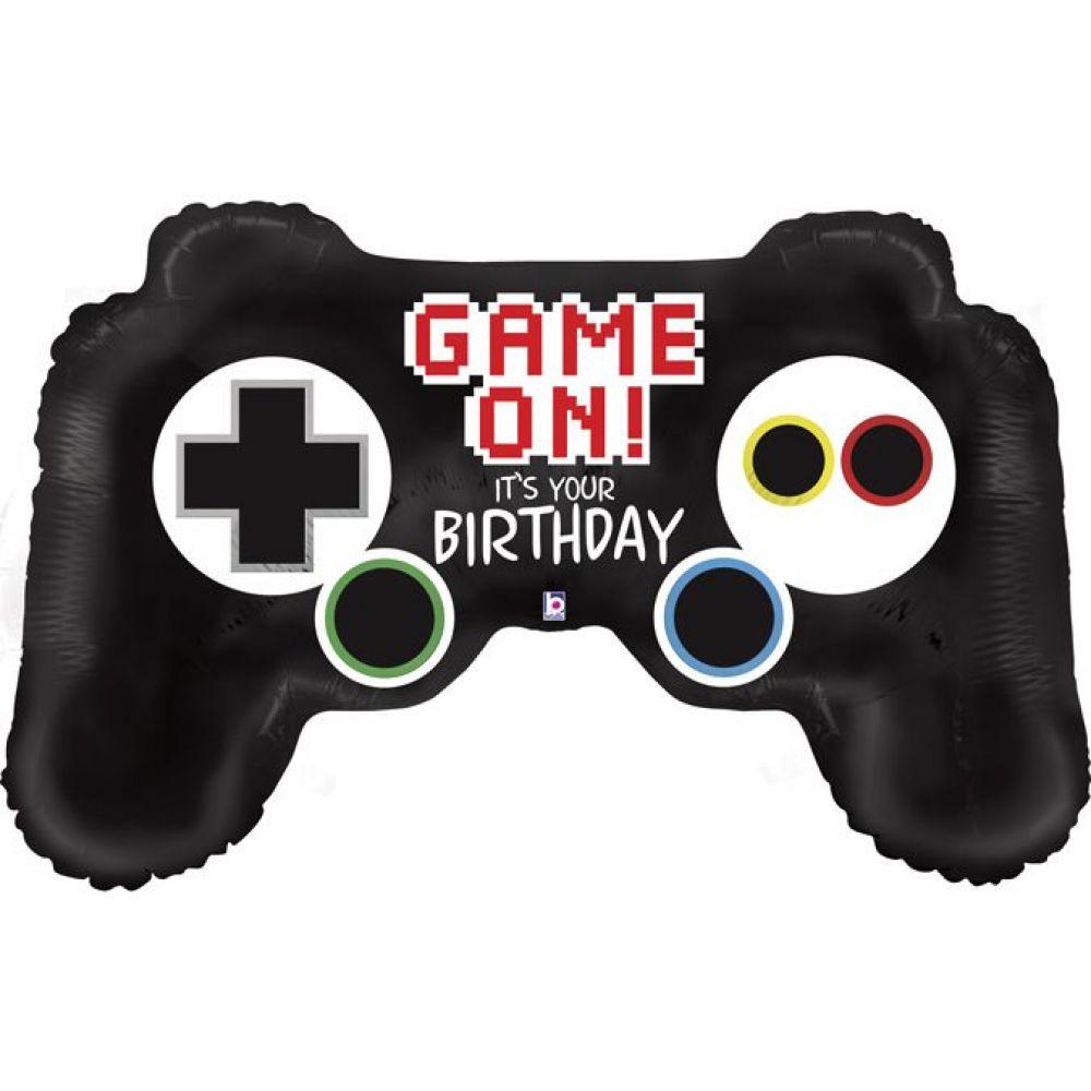 Фольгированный шар фигура Happy Birthday джойстик для игры