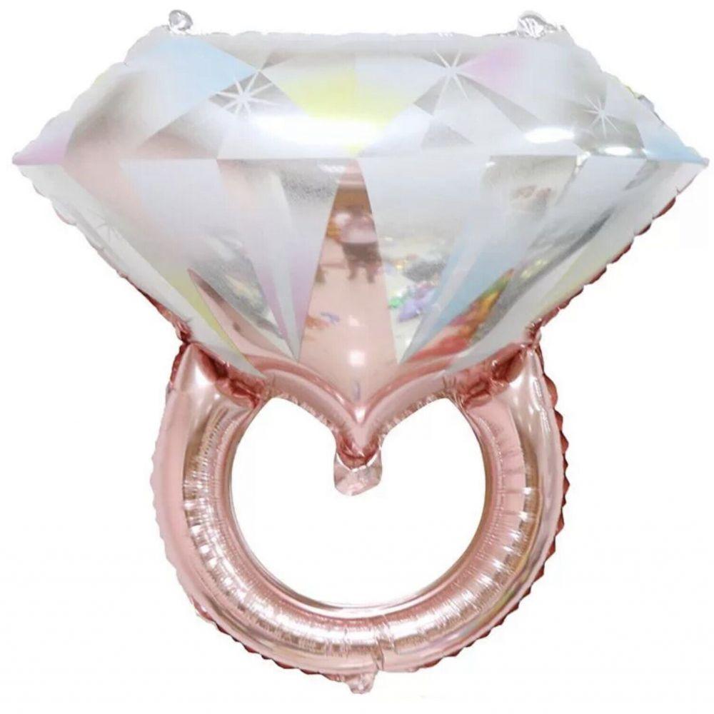 Фольгированный шар фигура Кольцо с бриллиантом розовое золото