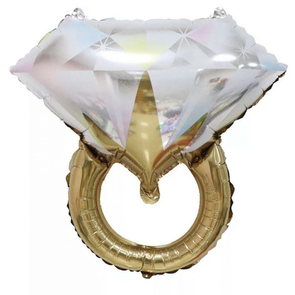 Фольгированный шар фигура Кольцо с бриллиантом золотое