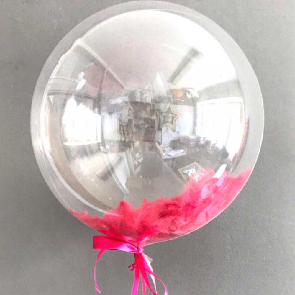 Bubble с перьями фуксия