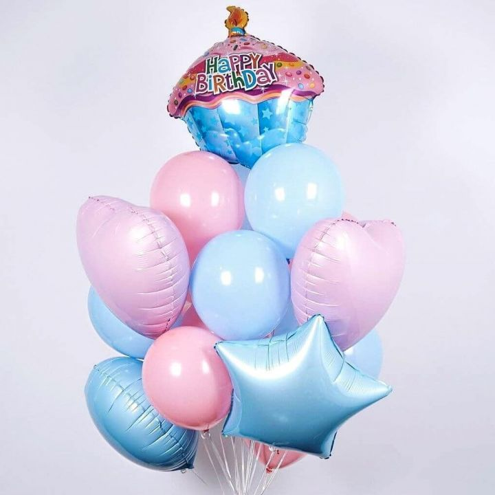"""Связка из 14 воздушных шаров """"Кексик"""""""