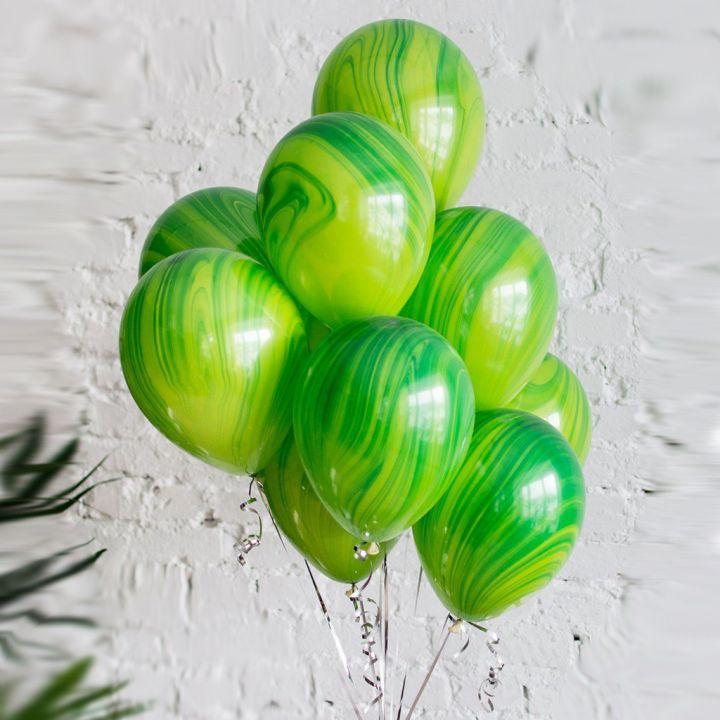 """Связка из 10 шаров """"Агат зеленый"""""""