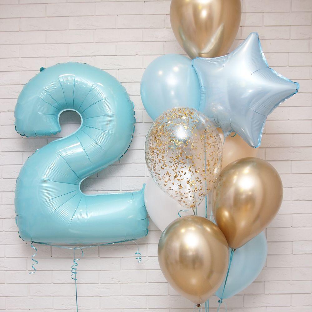 Композиция воздушных шаров с цифрой