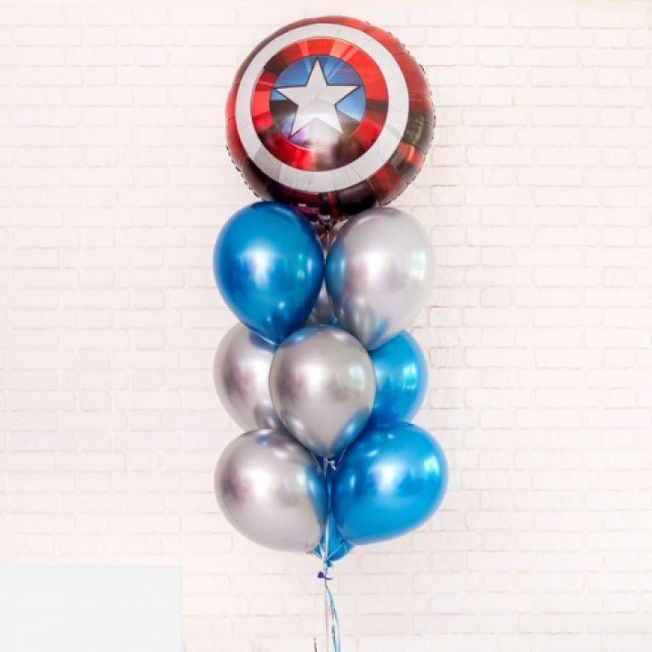 """Фонтан из шариков на детский праздник """"Капитан Америка"""""""