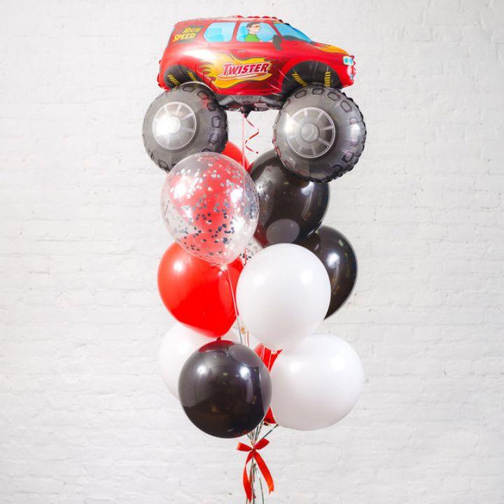 """Связка из 12 воздушных шариков """"Красный внедорожник"""""""
