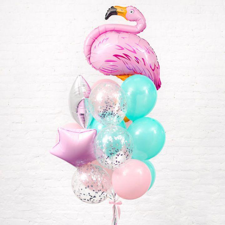 """Связка из 14 воздушных шариков """"Розовый фламинго"""""""