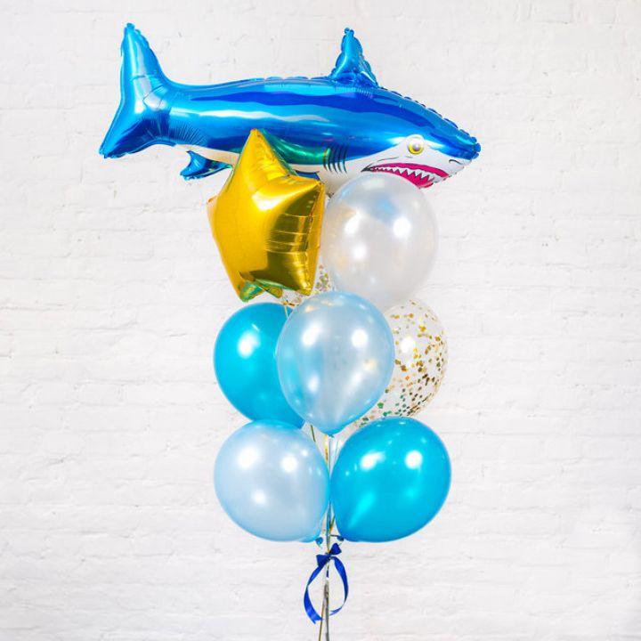 """Связка из 10 воздушных шаров """"Акула"""""""