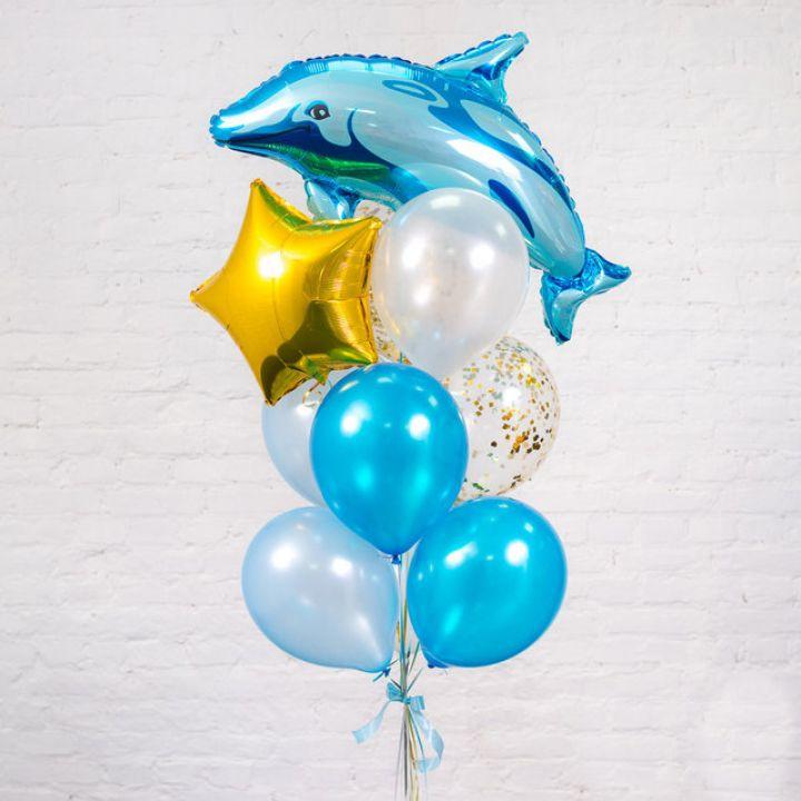 """Связка из 10 воздушных шаров """"Дельфин"""""""