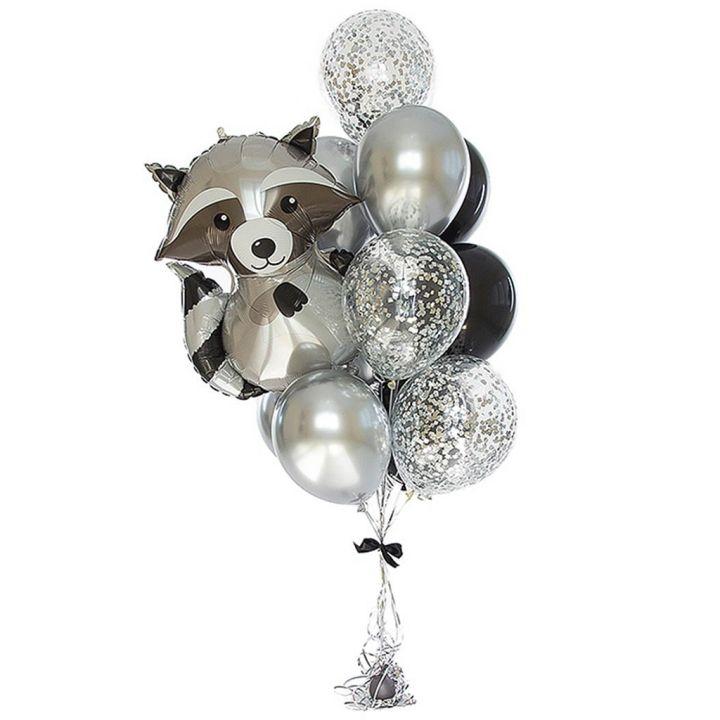 """Связка из 12 воздушных шариков """"Енот"""""""