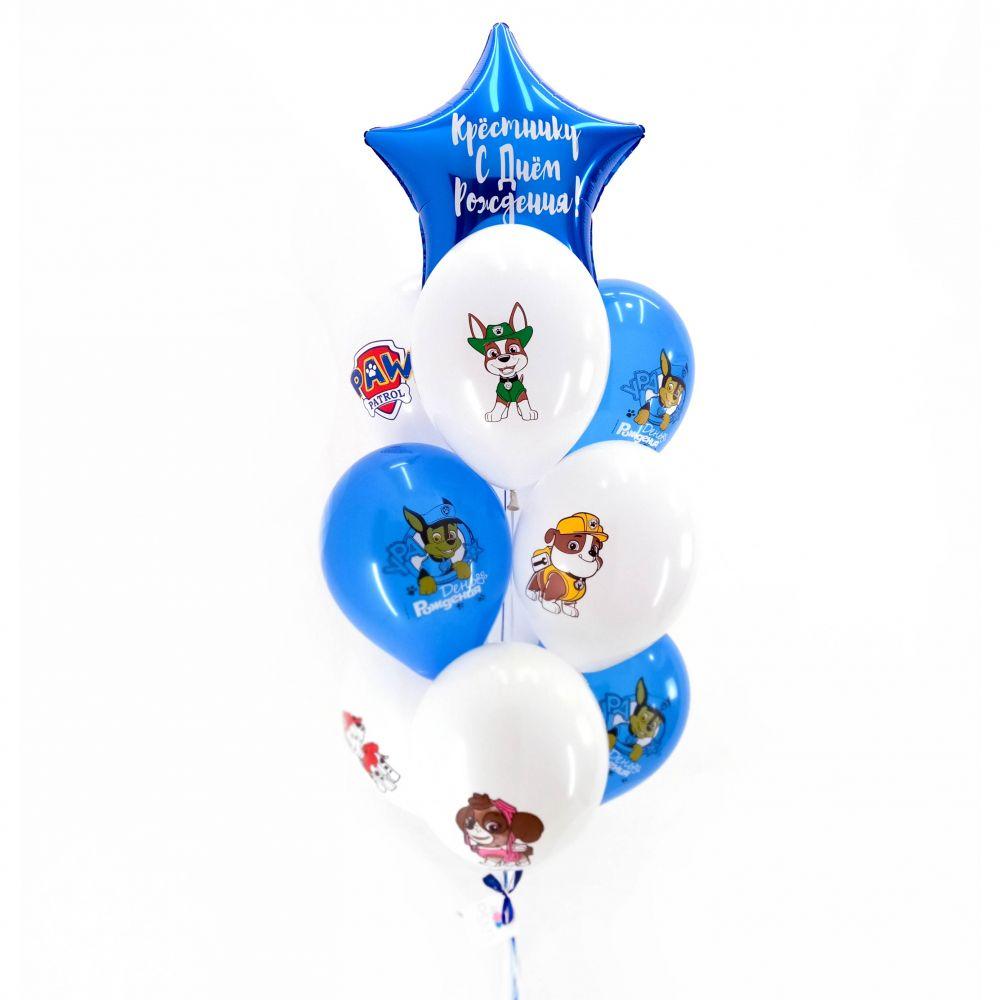 Связка из 10 шаров - Щенячий Патруль (бело-синий)